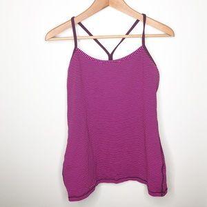 Lululemon Pink & Purple Striped Power Y Tank